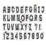 Grunge dirty alphabet letters and numbers,vector set