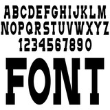 Simple black font, alphabet letters,numbers and punctuation marks