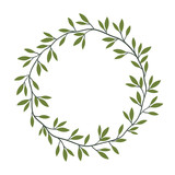 Vector vintage floral frame with green leaves, laurel wreath