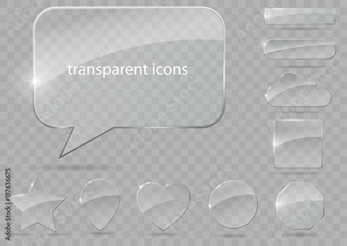 A set of glass icons or geometric shapes on a blue background. Vector graphics with the effect of transparency. - 187636675
