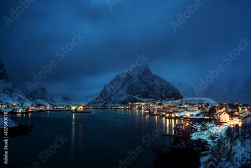 Foto op Canvas Nachtblauw sunset in Reine Village, Lofoten Islands, Norway