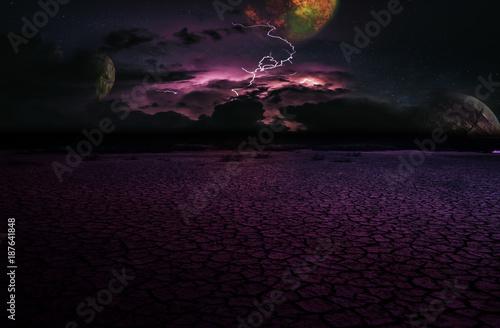 Fotobehang Zwart dramatic storm