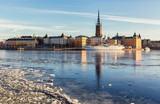 Riddarholmen island in Stockholm city on a sunny winter day. - 187642671