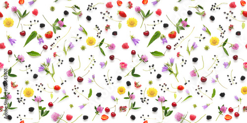 Seamless pattern from plants, wild flowers and  berries, isolated on white background, flat lay, top view. The concept of summer, spring, Mother's Day, March 8.  - 187643401