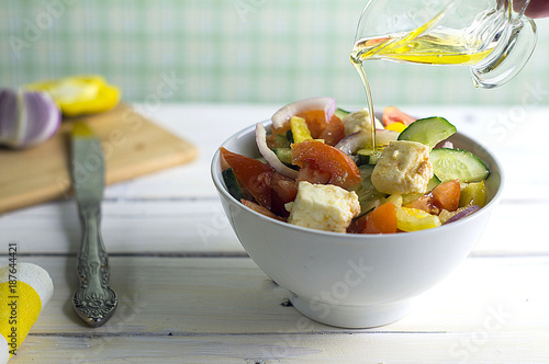 Foto Murales Vegetable salad with feta cheese, Greek
