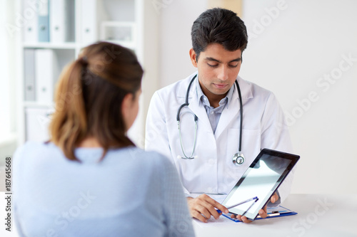 Height scale doctor showing tablet pc to patient at clinic