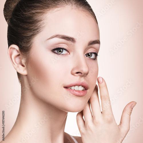 Foto op Aluminium Kasteel Beautiful young woman with fresh skin.
