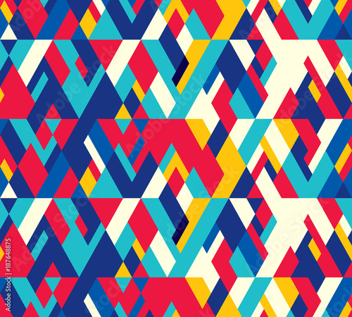 Cotton fabric Abstract seamless pattern of geometric shapes. Diagonal movement.