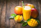 Mango juice in the glass - 187649848