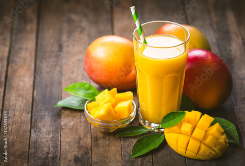 Mango juice in the glass - 187649848