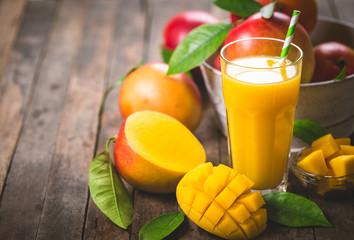 Mango juice in the glass