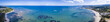 180 degree aerial panorama of beaches and resorts in the Dominican Republic.