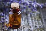 Close-up of lavender oil in the small glass jar. Cosmetic concept. - 187652023
