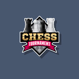 Chess tournament logo. Chess competition emblem. Chess and ribbon with letters.