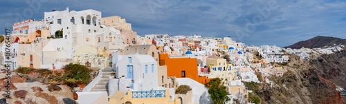 Panorama of the town of Oia, Santorini Island, Greece