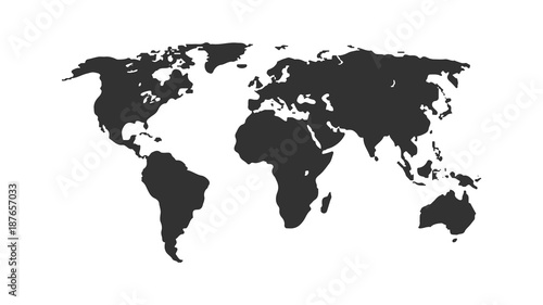 Black color world map isolated on white background. Abstract flat template with world map for web design, brochure, flyer, annual report, banner, infographic.  Global concept, vector illustration.