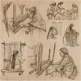 Working class heroes - an hand drawn collection. Line art technique. Processing of sewing materials. - 187658690