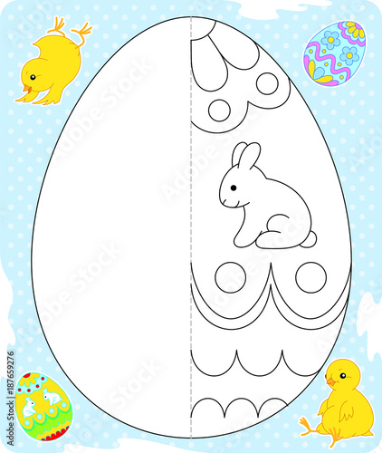 Easter egg drawing blue