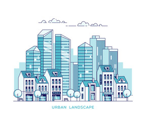 Urban landscape. City with skyscrapers and traditional buildings and houses. Linear vector illustration.