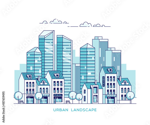 Fridge magnet Urban landscape. City with skyscrapers and traditional buildings and houses. Linear vector illustration.