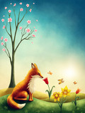 Illustration of a little red fox