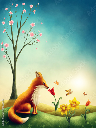 Poster Illustration of a little red fox