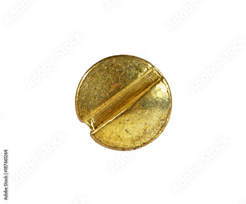 Golden screw head on a white background