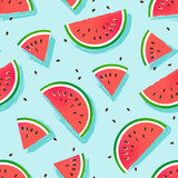 Watermelons pattern. Seamless vector background. - 187662614