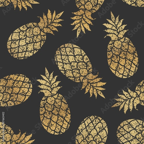 Golden pineapples seamless vector pattern on black background. - 187663402