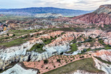 Aerial view over rocky Cappadocian landscape. - 187669467