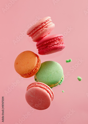 Fotobehang Macarons Colorful macarons cakes. Small French cakes.