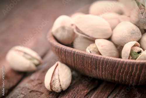 Closeup of some roasted pistachio