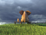 yellow dog and elephant on green grass field