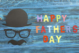 Happy Father's Day concept on wooden background