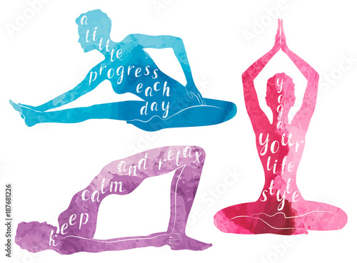 Wall mural Watercolor Silhouettes of woman practicing yoga, relaxation and meditation
