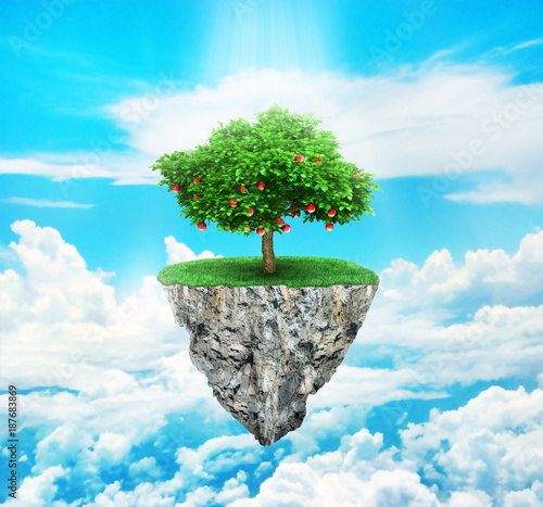 Concept of freedom. Island in sky with a tree on sky background. Safety island concept. Religion. - 187683869