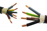 Copper electric power cable assemblies in PVC insulation jackets standing against each other, white background - 187685036
