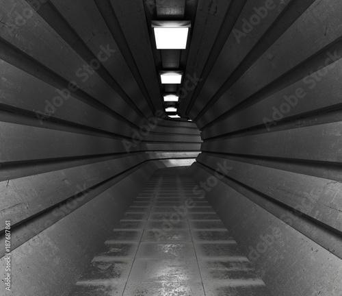 Foto Murales dark tunnel, a long corridor of round shape lightened with light. 3d illustration