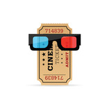cinema ticket with 3d movie glasses illustration - 187688474