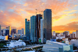 Sunset Behind Modern Miami Towers - 187689496