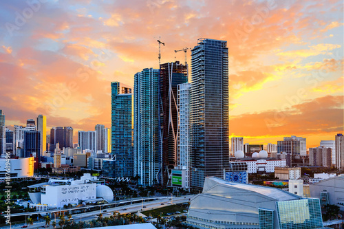 Poster Sunset Behind Modern Miami Towers