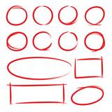 red hand drawn market frames - 187701044