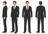 fashion man isolated, front, back and side view, vector illustration, businessman in suit  - 187701083