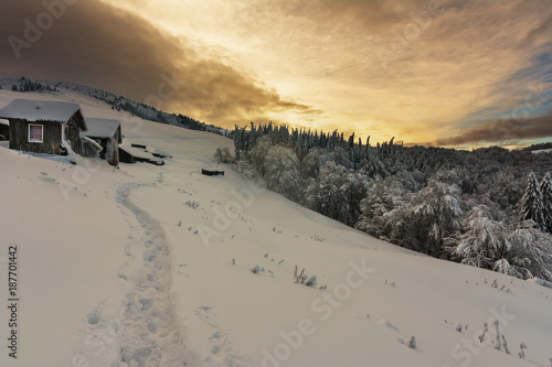 Tuinposter Donkergrijs Beautiful snow winter in mountains