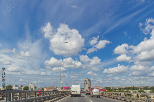 Transport on the bridge on a sunny day