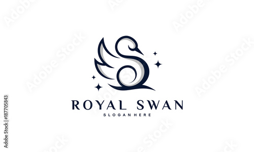 Luxury and Elegant Swan logo designs in line art style vector illustration