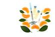 vitamin C. ampoules with vitamin C, syringe, slices mandarin . Serum with Vitamin C