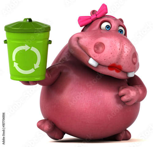Poster Pink Hippo - 3D Illustration