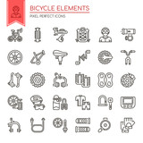 Bicycle elements , Thin Line and Pixel Perfect Icons.