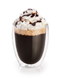 Coffee with whipped cream in a glass with double walls isolated on white background. Chocolate sauce.